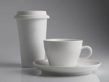Witte koffiekoppen Stock Afbeeldingen