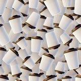Witte Koffiekoppen met Donkere Bruine Kappen Naadloos patroon Stock Foto