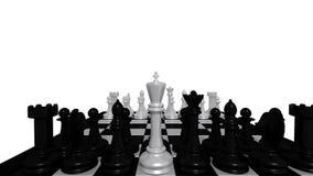 Witte koning voor zwarte stukken Royalty-vrije Stock Afbeeldingen