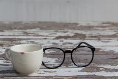 Witte kop en glazen Royalty-vrije Stock Fotografie