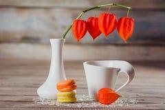 Witte kop, macaroni en bloem Physalis stock foto