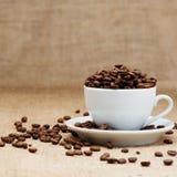 Witte kop met koffiebonen Royalty-vrije Stock Afbeelding