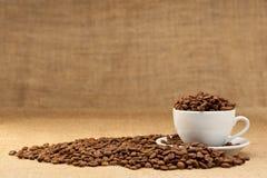 Witte kop met koffiebonen Stock Afbeeldingen
