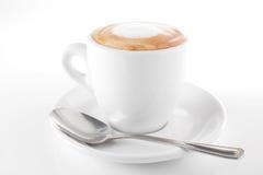 Witte kop van hete koffie royalty-vrije stock fotografie