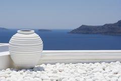 Witte kruik, decoratiedetail Santorini Stock Foto