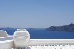 Witte kruik, decoratiedetail Santorini Royalty-vrije Stock Afbeeldingen