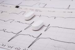 Witte langwerpige pillen of tabletten voor behandeling van ziekten van het cardiovasculaire systeem als optie - statin ligt op he stock foto's