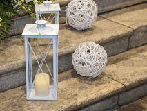 Witte lantaarns op de bestrating Royalty-vrije Stock Afbeelding