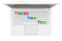 Witte Laptop met Gelukkig Nieuwjaarteken het 3d teruggeven Royalty-vrije Stock Afbeelding