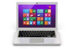 Witte laptop met interface Royalty-vrije Stock Foto's
