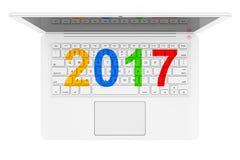 Witte Laptop met 2017 Nieuwjaarteken het 3d teruggeven Royalty-vrije Stock Fotografie