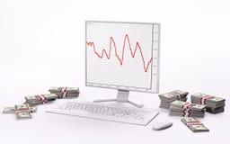 Witte LCD, toetsenbord, muis en stapels 3d dollars Royalty-vrije Stock Afbeelding
