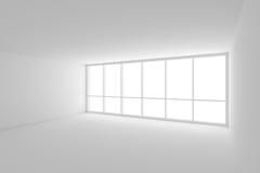Witte lege bedrijfsbureauruimte met groot venster stock illustratie