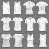 Witte lege 3d t-shirt vectormalplaatjes voor man en vrouwenmanierontwerp Stock Illustratie