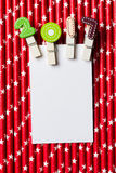 Witte lege kaart met klem 2017 op rood wit sterstro Royalty-vrije Stock Afbeeldingen