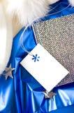 Witte lege kaart op blauw Royalty-vrije Stock Afbeelding