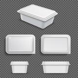 Witte lege plastic voedselcontainer voor uitgespreide margarine of boter Realistische 3D vectorillustratie vector illustratie