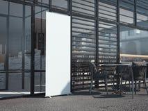 Witte lege rollupbanner dichtbij restaurant het 3d teruggeven Stock Foto's