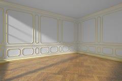 Witte lege ruimte met gouden het vormen en parketvloer Stock Afbeeldingen