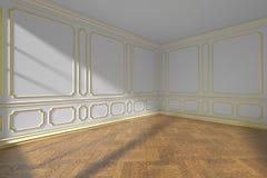 Witte lege ruimte met het gouden vormen en parket, brede hoek Stock Foto's