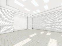 Witte lege ruimte met parket 3d Stock Foto's