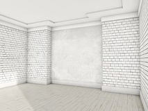 Witte lege ruimte met parket 3d Royalty-vrije Stock Afbeelding