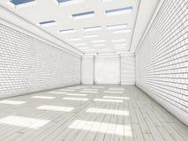Witte lege ruimte met parket 3d Stock Foto