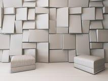 Witte lege ruimte met rechthoekige tegels Royalty-vrije Stock Foto
