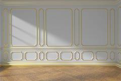 Witte lege ruimtemuur met het gouden vormen en parket Royalty-vrije Stock Afbeeldingen