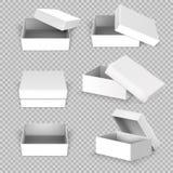 Witte lege vierkante open doos in verschillende posities vectorreeks royalty-vrije illustratie