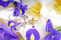 Witte lelie met gouden juwelen Royalty-vrije Stock Fotografie