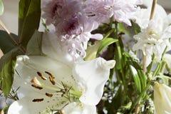 Witte leliebloem in boeket stock afbeelding