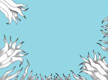 Witte lelies op blauwe achtergrond Stock Afbeeldingen