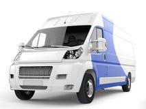 Witte leveringsbestelwagen met blauwe details - close-upschot royalty-vrije illustratie