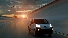 Witte leveringsbestelwagen op weg Vervoer en logistisch concept 3D Illustratie vector illustratie