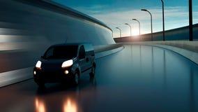 Witte leveringsbestelwagen op weg Vervoer en logistisch concept 3D Illustratie stock foto