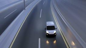 Witte leveringsbestelwagen op weg Vervoer en logistisch concept 3D Illustratie royalty-vrije stock fotografie