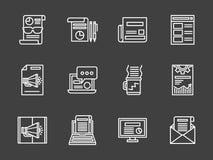 Witte lijn marketing geplaatste pictogrammen Royalty-vrije Stock Fotografie