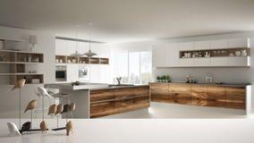Witte lijstbovenkant of plank met minimalistic vogelornament, vogeltje knick - handigheid over vage eigentijdse houten keuken stock afbeeldingen