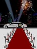 Witte limo en rood tapijt Royalty-vrije Stock Foto's