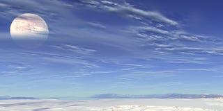 Witte maan en blauwe hemel Stock Foto's