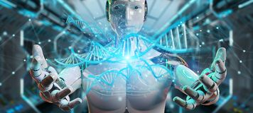 Witte mannelijke cyborg die het menselijke 3D teruggeven van DNA aftasten Royalty-vrije Stock Afbeelding
