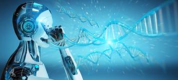 Witte mannelijke cyborg die het menselijke 3D teruggeven van DNA aftasten Royalty-vrije Stock Fotografie