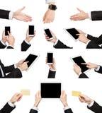 Witte mannelijke handen die punten houden en symbolen tonen Stock Afbeelding