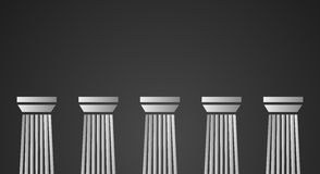 Witte marmeren pijlers op zwarte achtergrond Royalty-vrije Stock Foto