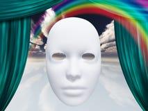 Witte masker en gordijnen Stock Afbeeldingen