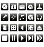 Witte media pictogrammen op zwarte vierkanten Stock Afbeelding