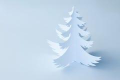 Witte Met de hand gemaakte Document horizontale Kerstboom - Royalty-vrije Stock Foto