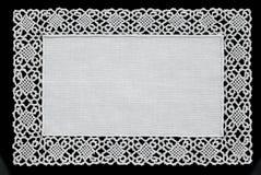 Witte met de hand gemaakte kantdoily Royalty-vrije Stock Afbeeldingen