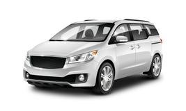 Witte Metaal Generische Minivan-Auto op Witte Achtergrond De mening van het perspectief 3D Illustratie met Geïsoleerde Weg vector illustratie